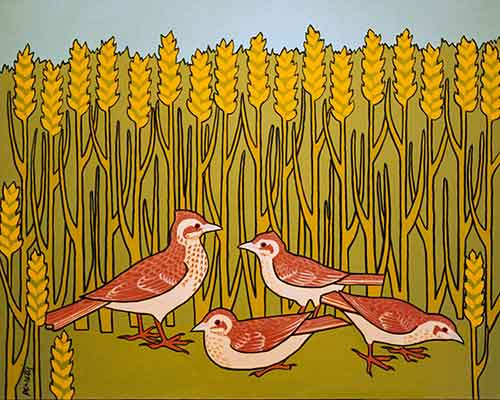 Illustration L'Alouette et ses petits avec le Maître d'un champ, Jacques Perretti