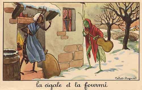 Illustration La Cigale et la Fourmi, Calvet-Rogniat
