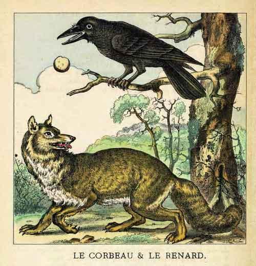 Illustration Le Corbeau et le Renard, Charle Pinot