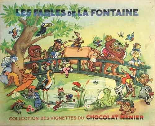 Vignettes Chocolat-Menier, fables de Jean de La Fontaine