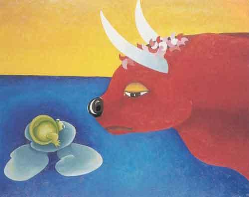 Illustration « La Grenouille qui veut se faire plus grosse que le Bœuf, Willy Aractingi
