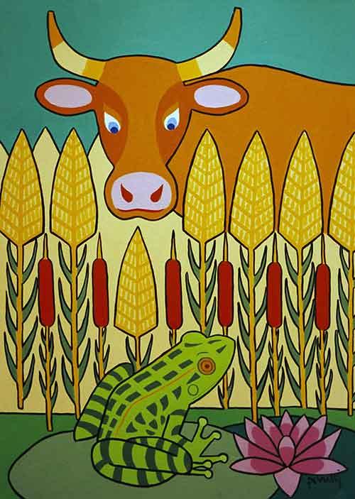 Illustration « La Grenouille qui veut se faire plus grosse que le Bœuf, Jacques Perretti