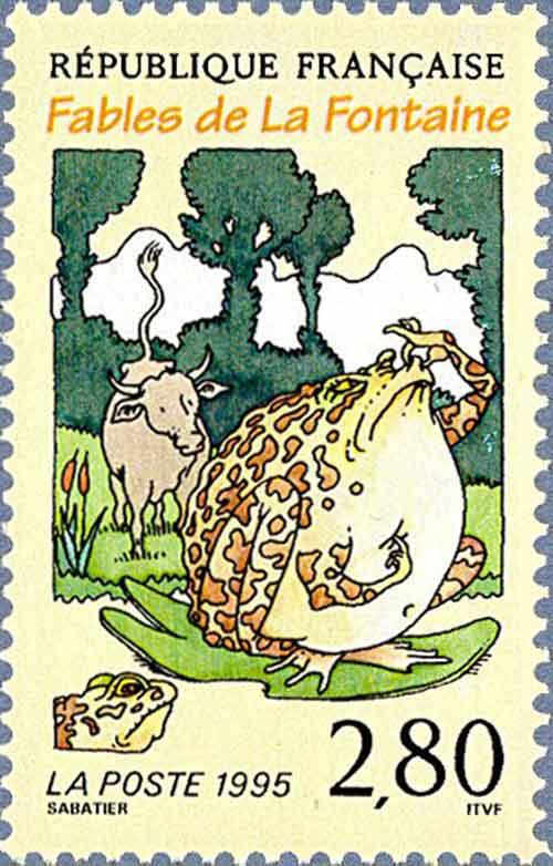 Illustration « La Grenouille qui veut se faire plus grosse que le Bœuf, Sabatier