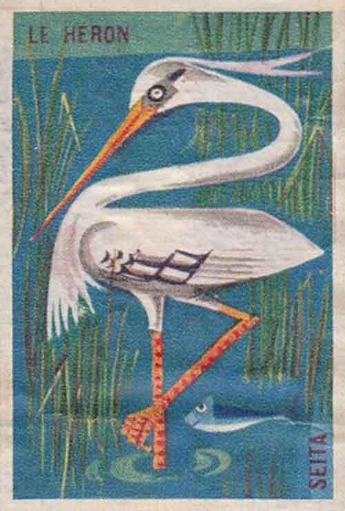Illustration Le Héron, étiquette de boite d'allumettes