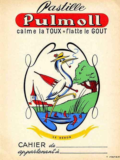 Illustration Le Héron, protège cahier publicitaire