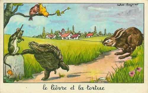 Illustration Le Lièvre et la Tortue, Calvet-Rogniat