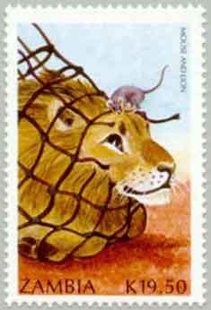 Illustration Le Lion et le Rat, timbre-poste