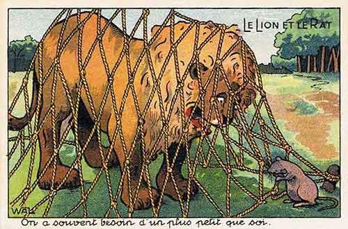 Illustration Le Lion et le Rat, Wal