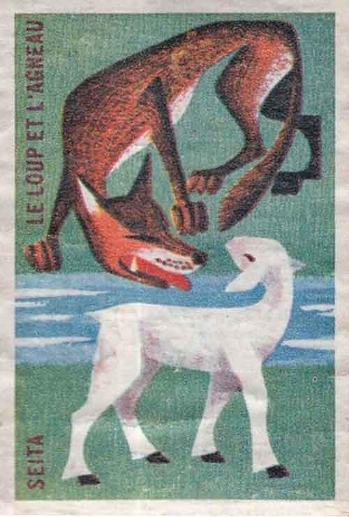 Illustration Le Loup et l'Agneau, étiquette boite d'allumettes
