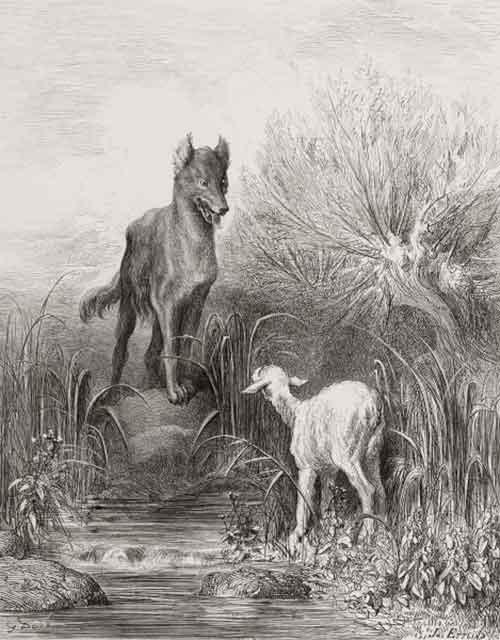 Illustration Le Loup et l'Agneau, Doré