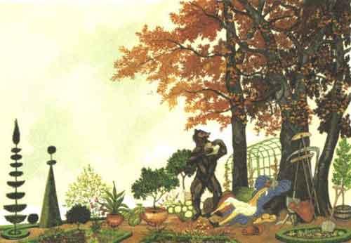 Illustration L'Ours et l'Amateur des jardins, Henri Lemarié