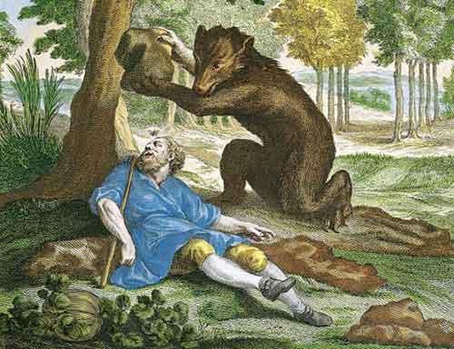 Illustration L'Ours et l'Amateur des jardins, Jean-Baptiste Oudry