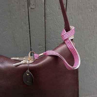 Lanière sac porte-clefs Pied de poule