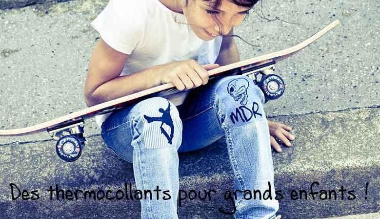 Ecussons thermocollants pantalon Sport et Tête de mort