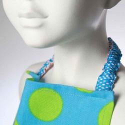 Bavoir enfant Pois bleu avec cordon élastique