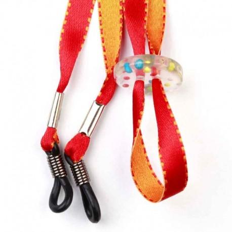 Cordon-lunettes enfant Bicolore orange et rouge