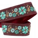 Lanière mousqueton porte-clefs / Antivol sac fleurs Myosotis turquoise