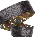 Lanière porte-clefs / Antivol sac cuir Boa Batik marron