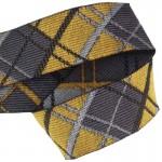 Lanière mousqueton porte-clefs / Antivol sac Écossais gris et jaune