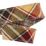 Lanière mousqueton porte-clefs / Antivol sac Écossais beige et bordeaux