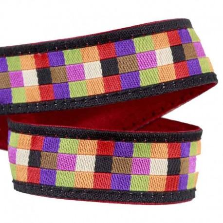 Ruban Mosaïque carrés multicolores fond noir