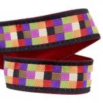 Lanière mousqueton porte-clefs / Antivol sac Mosaïque carrés multicolores fond noir
