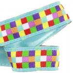 Lanière mousqueton porte-clefs / Antivol sac Mosaïque carrés multicolores fond bleu