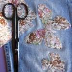 Pièce thermocollante à découper tissu fleurs Azalée rose