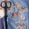 Pièce thermocollante tissu fleurs Azalée rose