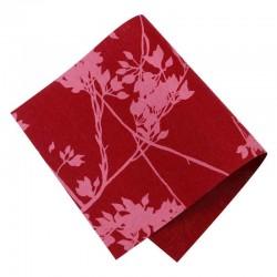 Pièce thermocollante tissu fleurs Feuillage rouge