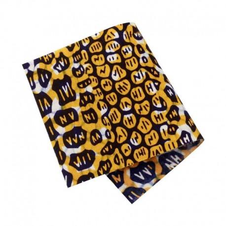 Pièce thermocollante tissu Wax violet et jaune
