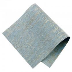 Pièce thermocollante tissu Lurex bleu ciel et or