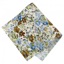 Pièce thermocollante tissu fleurs Azalée bleu