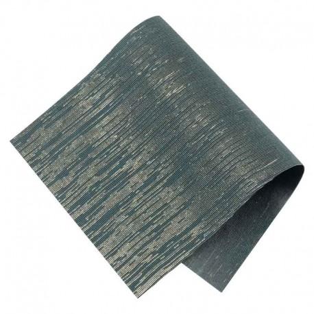Pièce thermocollante tissu Lurex bleu marine et or