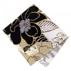 Pièce thermocollante tissu fleurs Pavot marron