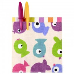 Poche rectangle thermocollante tissu Poissons multicolores