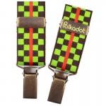 Bretelles pantalon enfant Carreaux marron et vert