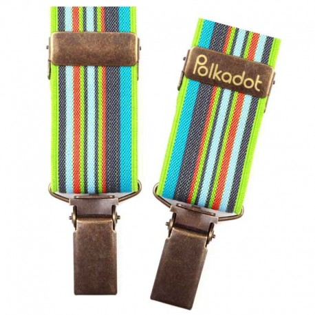 Bretelles pantalon enfant Rayures bayadère turquoise