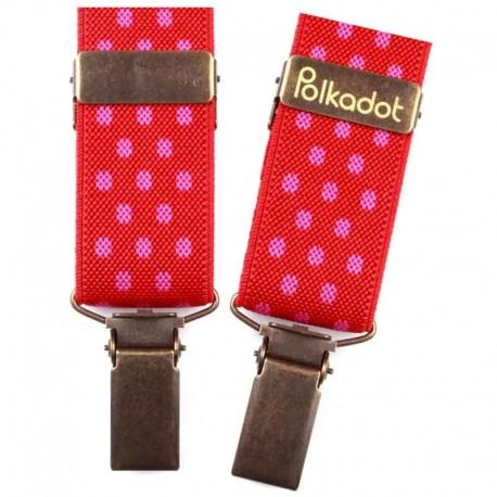 Bretelles pantalon enfant Pois rouge et rose
