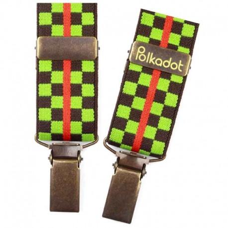Bretelles pantalon adulte Carreaux marron et vert
