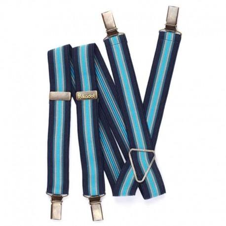 Bretelles pantalon adulte Rayures camaïeu bleu