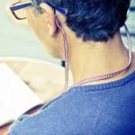 Cordon-lunettes ruban Pied de poule rouge