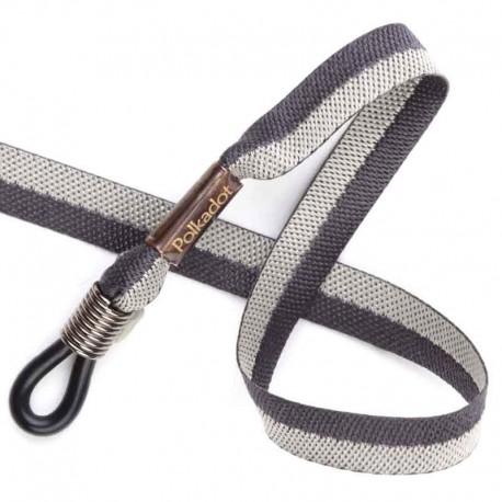 Cordon-lunettes ruban Bicolore gris et noir