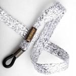 Cordon-lunettes ruban Lurex argent doux au toucher