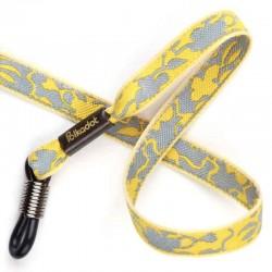 Cordon-lunettes ruban Fleurs gris et jaune