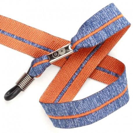 Cordon-lunettes ruban blue Jean orange