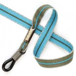 Cordon-lunettes ruban Bicolore gris et bleu turquoise