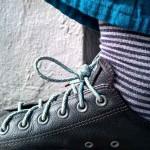 Lacets élastiques bleu et gris 130cm