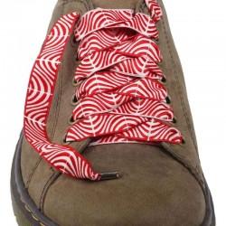 Lacets chaussures Vague rouge et blanc 130cm