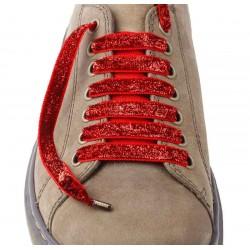 Lacets chaussures Lurex rouge 130cm